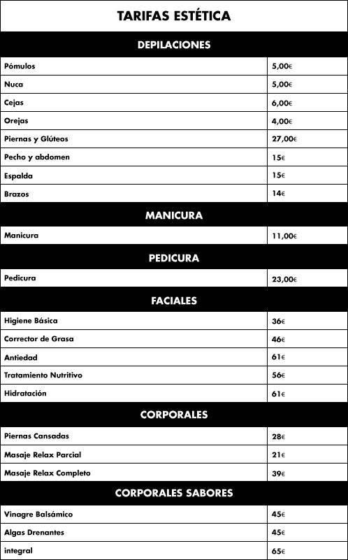 tarifas estética quiquepop precios