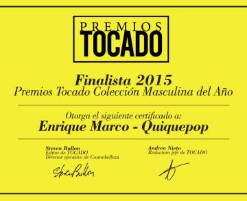 Título a Finalista Mejor Colección Masculina Premios Tocado 2015